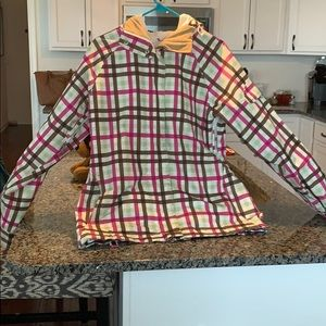 Pink striped snowboarding jacket